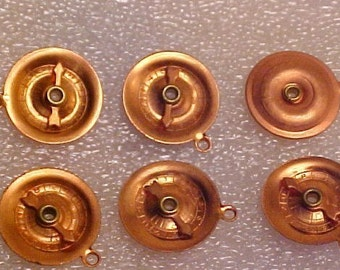 6 Vintage Roulette Wheel Charms, Copper Plated