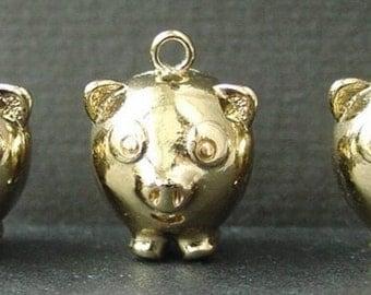 3 Little Pigs, MONET Charms, Gold Tone