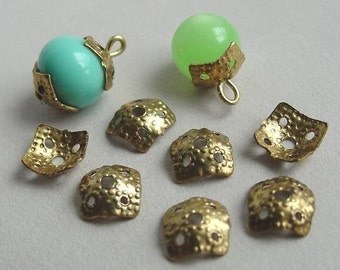 50 Square Brass Bead Caps, Dimpled, 7mm