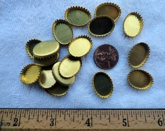 20 Vintage Brass Bezels, 13mm x 18mm Oval with Crown Edge