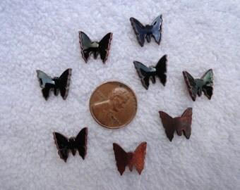 8 Vintage Enamel Butterfly Cabs, BLACK, 13mm