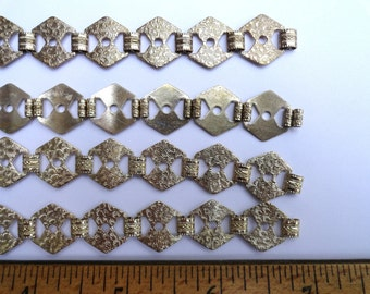 4 Vintage Bracelet Lengths, Nice Textured Design w/Holes for Adornments,Silver Tone Over Brass, 6.5 Inch