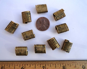 20 Vintage Brass Spring Spacer Beads, 11mm x 15mm Oval, Lots of Patina