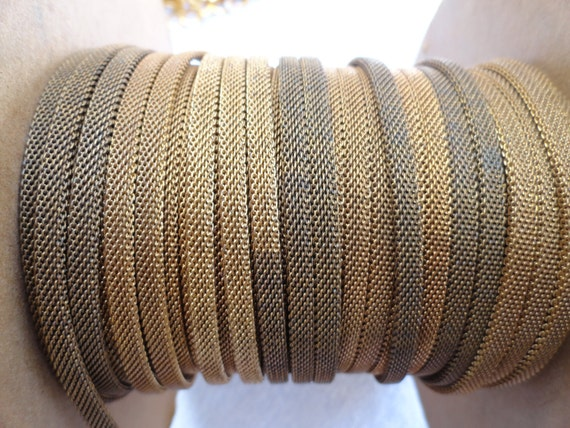 5 Feet of  Woven Mesh Chain/Band, Vintage Brass, 4mm