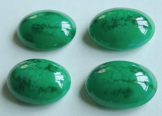 Vintage Dark Green Speckled Cabochons, 18mm x 25mm Domed, 4 Pieces