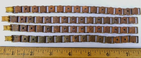 4 Vintage Book Chain Bracelet Blanks, Copper Plated Steel with Design and Holes for Adornments, 7 Inch
