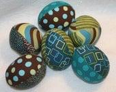 Pop Parade Easter Eggs - half dozen fabric stuffed - Great decoration or basket filler