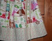JOy JOy HooT HooT Girls Christmas Skirt in Pink Green and Blue - Custom sizes 12, 2, 3, 4, 5 LAST ONE