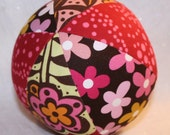 Chocolate Lollipop Red Pink Broen No3 - Large Cloth Jingle Ball- great baby gift