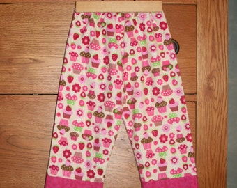 SALE - Cupcakes In Pink and Green Girls Flannel Lounge or Pajama Pants - Size 2t - last one