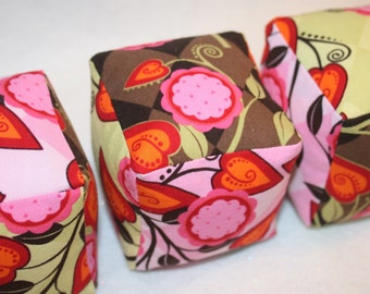 Andalucia Flora in Brown,  Lime, and Pink - Cloth Play Blocks - Set of 3