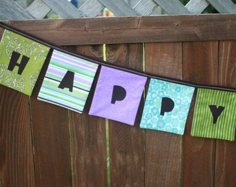 Girls HAPPY BIRTHDAY Reusable Fabric Banner - Purples, Greens, Blues