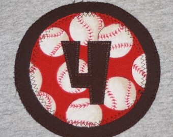 CLEARANCE SALE - Boys 4th Birthday Baseball Number 4 Shirt - Size 4 short sleeve gray and red