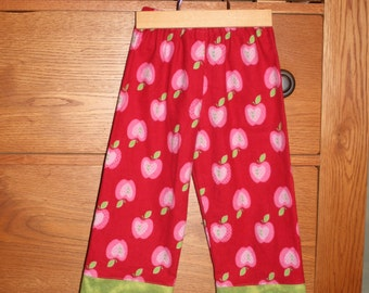SALE - Apples Girls Flannel Lounge or Pajama Pants in Green Red Pink - size 12 month or size 2 2t - last one