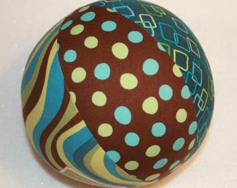 Pop Parade in Brown, Green, Yellow, and Aqua Blue - Large Cloth Jingle Ball