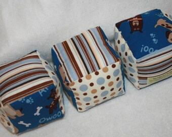 Puppy Dogs - Children and Baby Soft Cloth Play Blocks - Set of 3