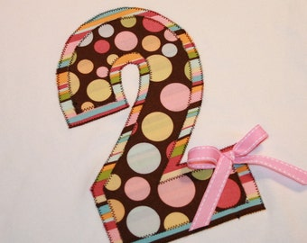 Girls Second Birthday Number Two Shirt in Pink and Brown Polkadot with bow - size 2t short sleeve