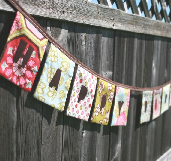 SPECIAL - HAPPY BIRTHDAY Reusable Fabric Banner - Ginger Blossom