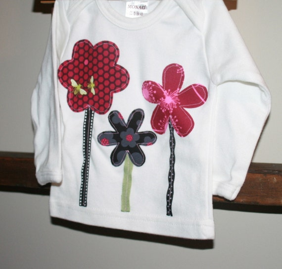 SAMPLE SALE - Baby Girls Flower Garden Shirt in Red Black and Pink - Long Sleeved size 3-6 months