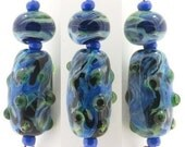 Emerald Current - two lampwork bead focal set