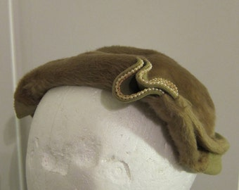 Vintage Olive Felted Fur Hat with Pearl Detail