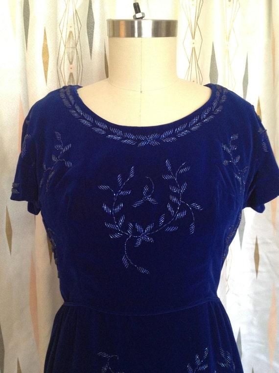 Blue Velvet Beaded 1960s Wiggle Dress