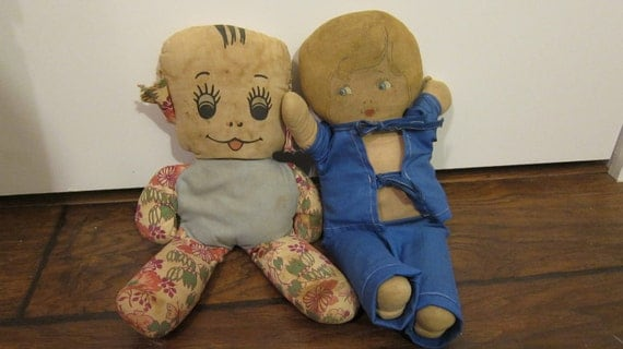 Vintage Primitive Doll Set Kewpie and Dog