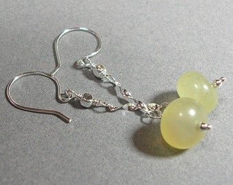 Earrings - Lemony Soocho Jade on Sterling Silver - ES169