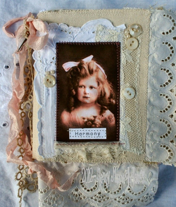 SALE was 44.95 now 24.95 Shabby Roses and Cream HANDMADE Fabric Collage Book