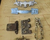 Assorted Lot of Hardware Reclaimed from Antique to Mid-Century Houses - handle, drawer pull, slide lock, hinge, door chain - eclectic mix of colors and textures