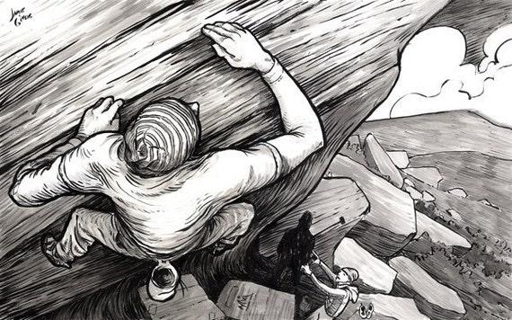 Sloper, giclee print, Rock Climbing Art