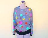 Op Art Early 90's Colorful Polka Dot Blouse