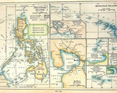1912 Antique Colored Map of The Philippine Islands, Hawaiian Islands