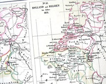 1871 Antique German Map The British Isles, Netherlands, Holland, Belgium Hand Colored Chromolithograph 1871 p21
