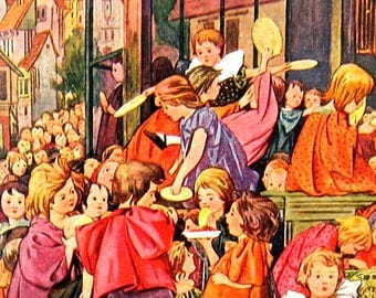 1902 Antique Children's Story Book Plate - Liliput Levee