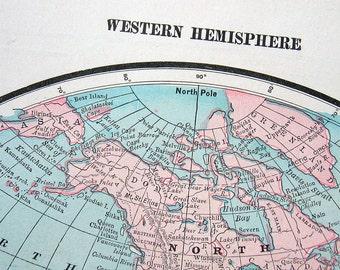 1899 Antique Book Plate Western Hemisphere