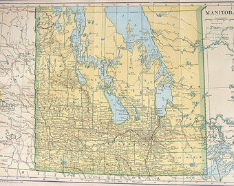 1925 Map of Manitoba Colored Vintage Map