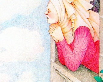 1987 Rapunzel Vintage Fairy Tale Book Plate
