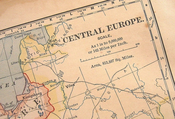 1883 Antique Map of Central Europe