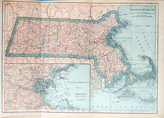 1925 State Map of Massachussets Colored Vintage Map