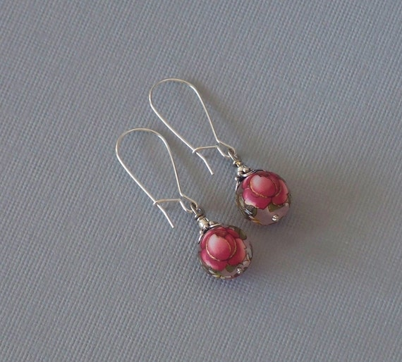 Frosted Red Rose Earrings -  Tensha Beads on Sterling Silver Earwires