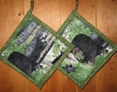 Black Bears in the Woods  Holders - Set of Two Potholders
