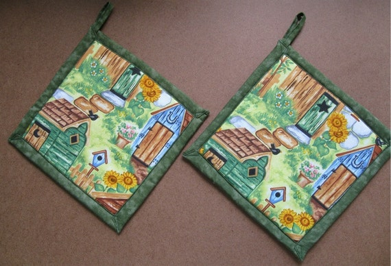 Outhouse on Green  Potholders - Two Holders  SALE