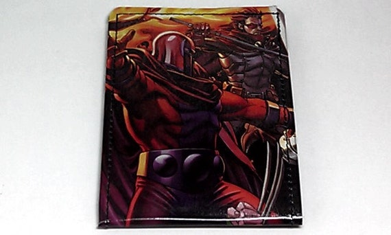 Sewn Duct Tape Comic Book Wallet - X-men's Magneato and Rogue
