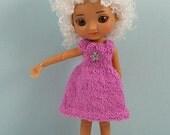 Amelia Thimble doll handmade knit pink boucle dress AM55