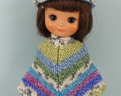 Tiny Betsy doll hand made knitted poncho and hat set TB411