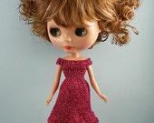 Blythe, Tiny Betsy,SP Lati White doll handmade knitted sparkle dress rose pink TB428