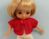 Amelia Thimble doll hand knitted red short sleeve cardigan AM58