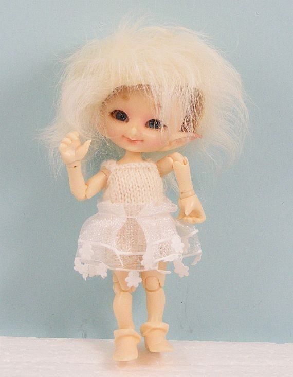 Hand knit Fairyland Real Puki BJD doll short jumper and skirt set RP53