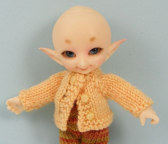 Fairyland Real Puki BJD doll hand knitted butter yellow handknitted cardigan RP82